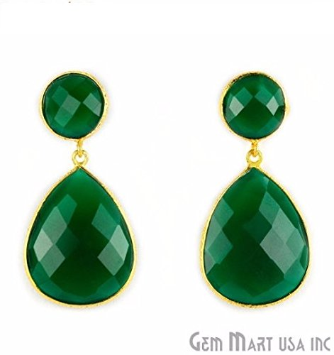 Choose Your Smooth Bezel Gemstone Stud Earring 24k Gold Plated Exclusively by GemMartUSA -GREEN ONYX (GOER-90014) (Green Onyx Earrings)