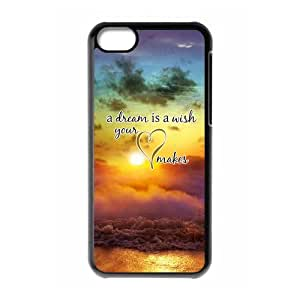 HOT phone cases,For black plastic iphone 5c case with A Dream Is A Wish Your Heart Makes Pattern at SMALL HORSE store