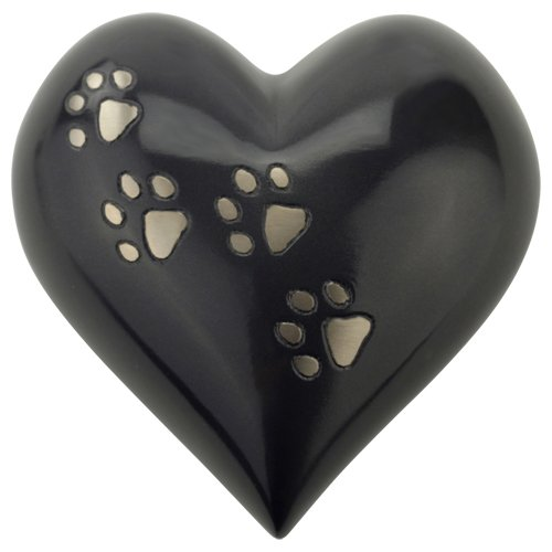 - Silverlight Urns Paw Print Heart Keepsake Urn for Pet Ashes, Dog Ashes, or Cat Ash, Holds 1.5 Cups