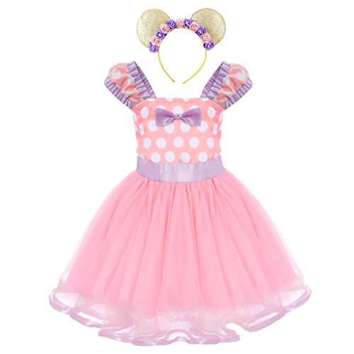Girls Polka Dots Princess Minnie Costume Christmas Birthday Party Dress up with Mouse Ears Headband 2PCS Set Children Halloween Carnival Dance Fancy Dress for Kids Baby Photo Shoot Cosplay Pink 4-5Y -