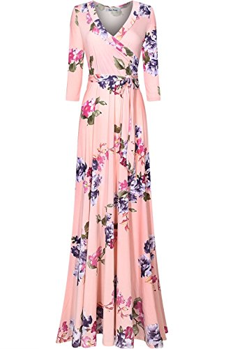 Bon Rosy Women's 3/4 Sleeve Floral Printed Bohemian Maxi Wrap Dress Light Pink (Can Can Dress)