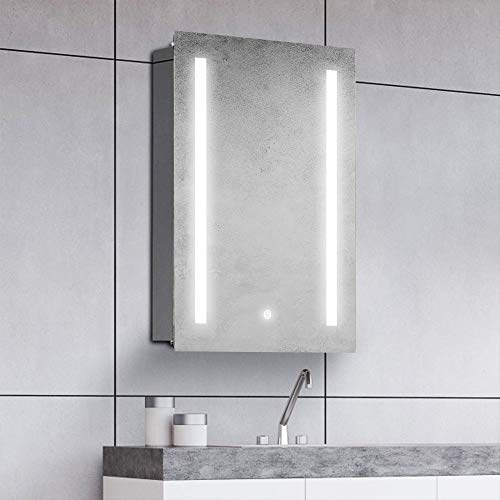 Gatesea 500 x 700mm LED Illuminated Bathroom Mirror Cabinet Stainless Steel Frameless -