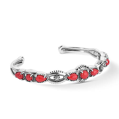 American West Sterling Silver Red Coral Gemstone Slim Cuff Bracelet Sizes Small