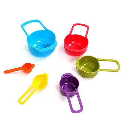 Nested space saving measuring cups and spoons set Plastic Stackable Multicolor Design