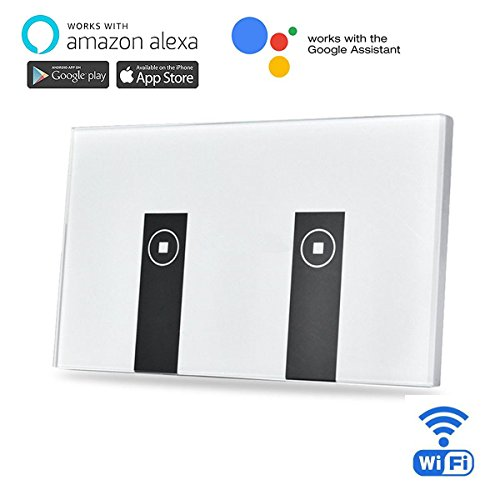 Goldwin smart wifi wall light switch 2 gang independent control goldwin smart wifi wall light switch 2 gang independent control wall touch panel switchwifi enabledwork with amazon alexano hub requireremote crontrol aloadofball Image collections