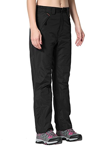 Clothin Women's Insulated Ski Pants Fleece-Lined Snowboarding Outdoor Winter Pant(Black, L)