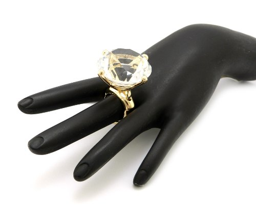[Extra Big Rhinestone Stretch Ring in Gold-Tone] (Costume Jewelry Diamond Rings)