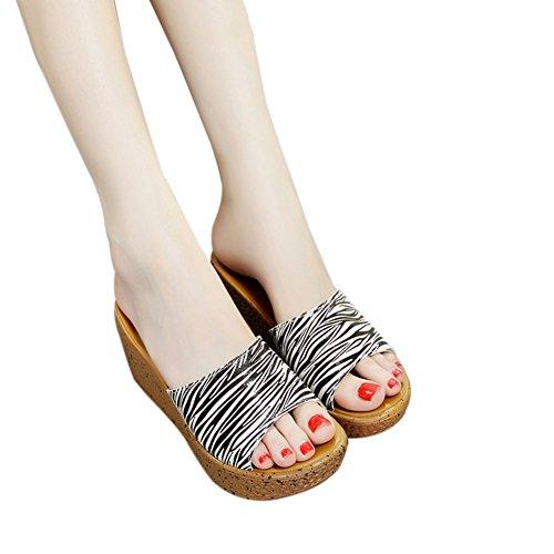 Fereshte Donna Peep Toe Open Back Sandali Con Zeppa Flatforms Pantofole Da Spiaggia Vacanza Zebra