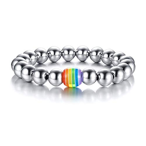 Wholesale Stainless Steel Bracelets - INRENG Stainless Steel Silver Round Beads Bracelet LGBT Rainbow Ball Bangle for Men Gay & Lesbian Pride 10mm Wide Adjustable Length