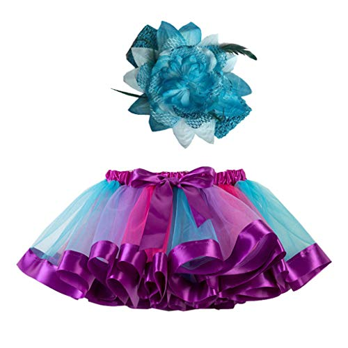 Sunhusing Adorable Girls Rainbow Tutu Skirt + Hair Strap Two-Piece Suit Toddler Party Dance Ballet Costume Skirt