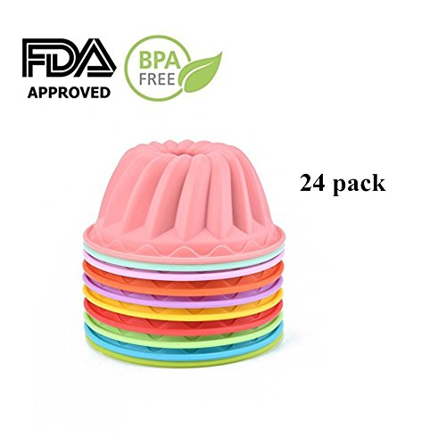 SHareling Muffin Cups Cupcake Bakeware Silicone Cake Baking Molds,Mini Bundt Cake Pans Pudding Jello Molds Reusable Silicone Cake Molds(Color Random) (24-Pack Mini Bundt) - Fluted Jello Mold