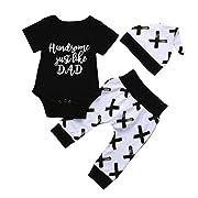 Kehen Infant Baby Boys 3pcs Spring Outfits Letter Short Sleeve Romper Tops+Long Pants+Hat Casual Set (Black, 0-6 Months)