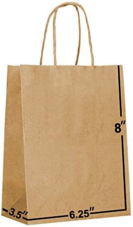 [100 Bags] 6.25×3.5×8. Kraft Paper Gift Bags with Handles Bulks. Ideal for Shopping, Packaging, Retail, Party, Craft, Gifts, Wedding, Recycled, Business, Goody and Merchandise Bag (Brown)