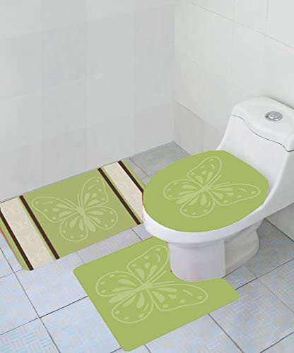 Geometric 3 Piece Thick Wave High Pile Bathroom Set Rug Toilet Lid Cover Brown