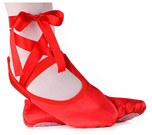 LONSOEN Ballet Slipper Shoes Stretch Satin Ballerinas Dance Yoga Flats with Pure Ribbons for Girls (Toddler/Little Kid/Big Kid SHC553 Red CN25 - Stretch Ballet Flat