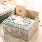 Tissues Box, European Household Multi-Function Living Room Coffee Table Remote Control Storage Box,K