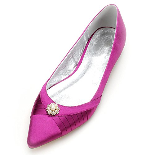 L@YC Frauen Hochzeit Schuhe 5047-12 Gehobenen Prom Abendgesellschaft Braut Prom Satin Geschlossene Zehe Purple