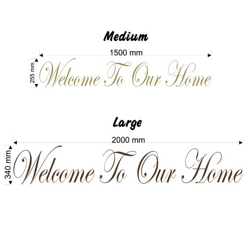 Welcome to Our Home - Wall Decal Sticker Quote Lounge Living Room Bedroom (Color: Burgundy Size: Large) ()