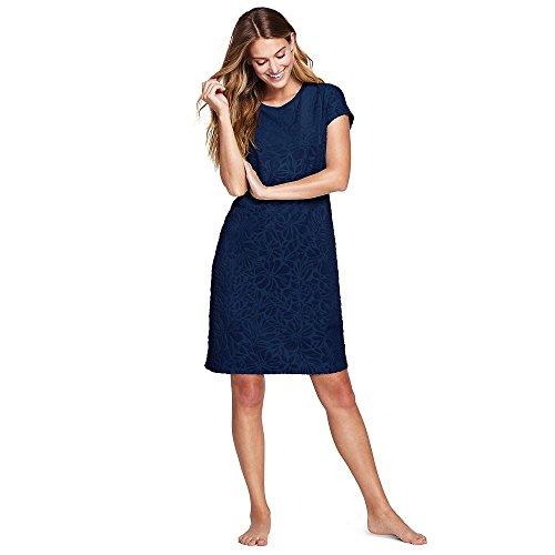 Lands' End Women's Jacquard Terry T-Shirt Dress Cover-up, XS, Deep Sea