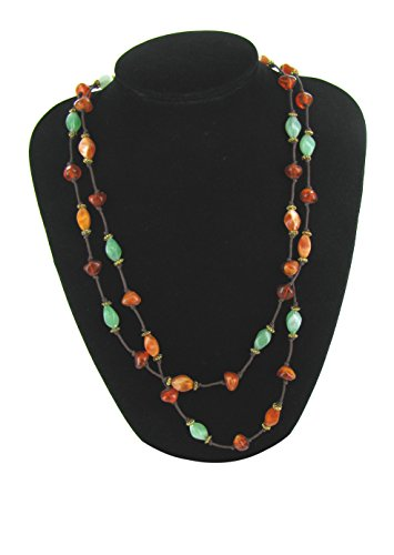Linpeng Twisted Oval Shaped Jade & Amber Assorted Beads Long (Amber Oval Beads)