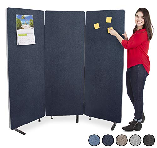 Stand Steady ZipPanels Office Partition | Room Dividers | Three Zip Together Panels Provide Privacy and Reduce Ambient Noise in Workspace, Classroom and Healthcare Facilities (72