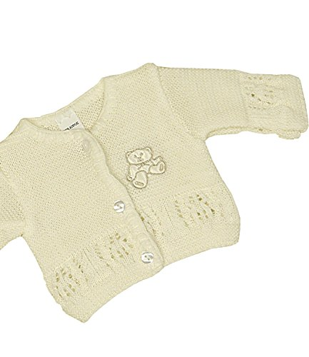 BabyPrem Baby Cardigan Jacket Acrylic Teddy Bear 1.5lb-6 mths CREAM P3