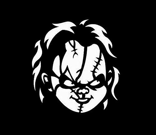 Chucky Childs Play White Decal Vinyl Sticker|Cars Trucks Vans Walls Laptop| White |5.5 x 5 in|LLI577