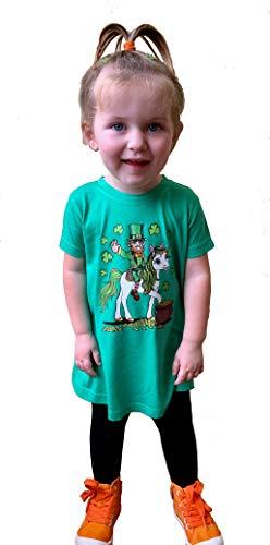 St. Patrick's Day Dress - Kids/Girls/Youth Leprechaun Riding a Unicorn (Green T-Shirt Dress, 12 Months)