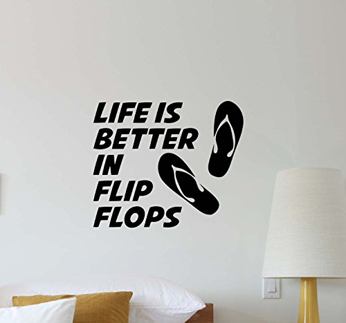 Julia Cruz Life Is Better In Flip Flops Wall Decal Beach Quote Inspirational Lettering Office Vinyl Sticker Motivational Gift Home Bedroom Decor Art Poster Mural Custom Print 577