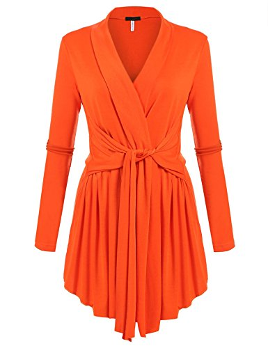 - ACEVOG Women's Solid Long Sleeve Open Front Waterfall Draped Cardigans Orange L