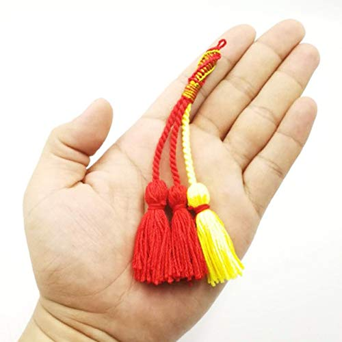 Turkish Popular Style Cotton Tassels Handmade Tesbih Tassel Red and Yellow Color Karkoosha Muslim Rosary Tassels - (Metal Color: Light Yellow Color) by DAVITU