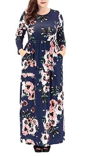 Jaycargogo Imprimé Floral Rond Manches Longues Cou Taille Plus Robe Maxi Femmes 1