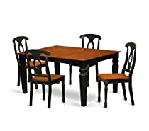 Deluxe Premium Collection 5 Pc Set with a Kitchen Table and 4 Wood Dining Chairs Black Decor Comfy Living Furniture