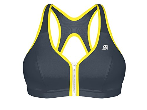 Shock Absorber Women's UK Active Zipped Plunge Bra, Grey Yellow, 34D