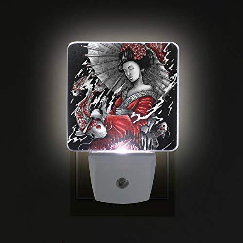 Plug in LED Night Light Geisha Japanese Lamp with Dusk to Dawn Sensor for Kitchen Hallway Bedroom Bathroom, 2 Pack