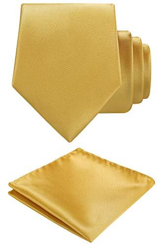 Gold Mens Tie - Solid color Neck tie.Pocket Square,Gift Box set. (Gold)