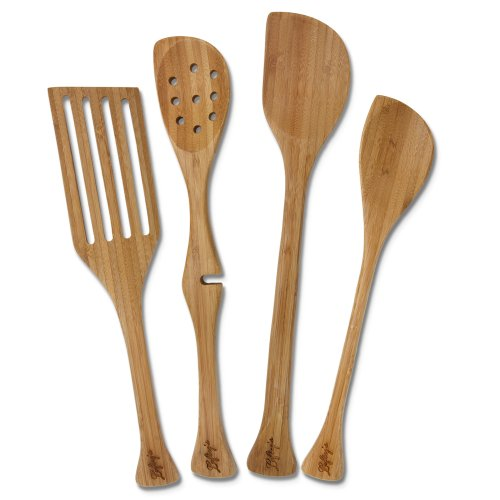 Lefty's Left-handed Bamboo Utensil Kitchen Tool Set, 4 Pieces in Mesh Bag