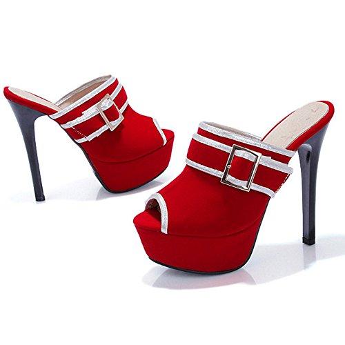 Mules Sandales Taoffen Talons Femmes Red Plateforme RFZFwEBq