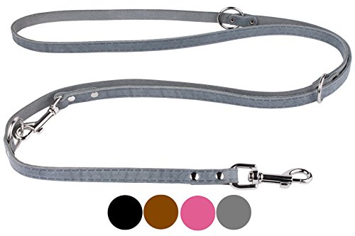 - CollarDirect Leather Dog Leash Adjustable Length 4ft 5 ft 6ft, Multi Functional Training Dog Lead Leather Leash 4 5 6 feet Puppy Black Brown Pink Grey (Grey)