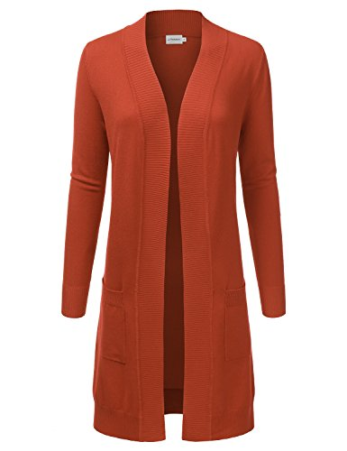 JJ Perfection Womens Light Weight Long Sleeve Open Front Long Cardigan Rust XL