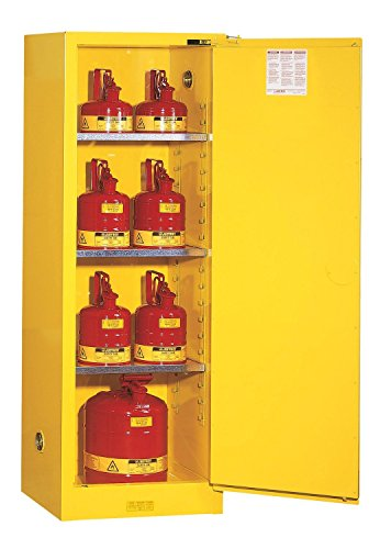 Justrite 892220 Sure-Grip EX 22 Gallon, 65'' H x 23-1/4'' W x 18'' D, 1 Door, 3 Shelf, Self-Close Yellow Slimline Flammable Storage Cabinet by Justrite
