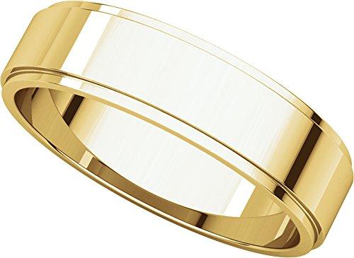Womens 14K Yellow Gold, Flat Edged Wedding Band 5MM (sz (5mm Edged Band Ring)