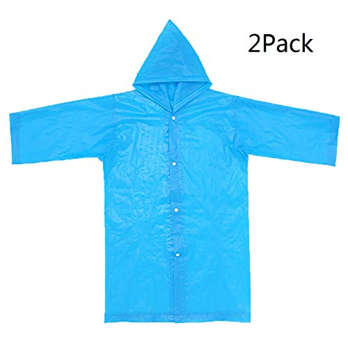 Children Rain Ponchos, 2 Pack Portable Reusable Raincoats For 6-12 Years Old LONGEWN