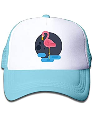 Flamingo On Boys and Girls Trucker Hat, Youth Toddler Mesh Hats Baseball Cap!