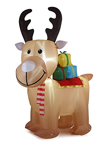 New 10 FT Inflatable Happy Reindeer With Led Lights Christmas X'mas Decoration (10' Reindeer)