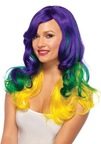 Leg Avenue Women's Carnival / Mardi Gras Tri-Color Wavy Wig, Multi-Colored, One -