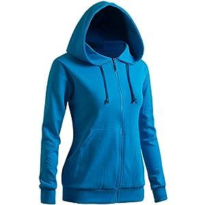 CLOVERY Women's Casual Zip-up Hoodie Basic Long Sleeve Hoodie Aqua