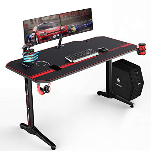 VIT 55 Inch Ergonomic Gaming Desk, T-Shaped Office PC Computer Desk with Full Desk Mouse Pad, Gamer Tables Pro with USB Gaming Handle Rack, Stand Cup Holder&Headphone Hook (Black)
