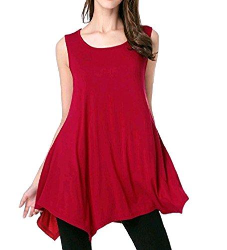 Rosso Vestito Più Solido Coolred Casuale Di Rilassato Breve Volant Cocktail Asimmetrica Svago Maniche Formato Senza donne q0wZna60xU