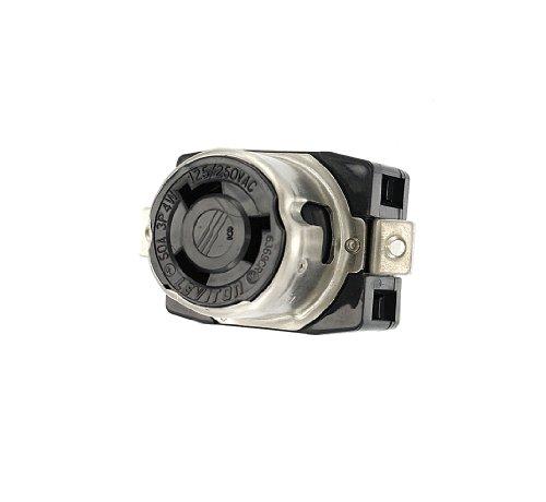 Mount 250v Flush (Leviton 6369CR 50 Amp, 125/250 Volt, Industrial Grade, Black and White Locking Flush Mount Receptacle, Grounding, Corrosion Resistant, Black)